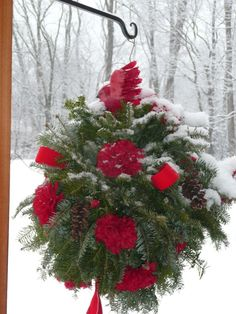 Kissing Ball on VDay.  Made by Cathy Testa.  Carnations fake but beautiful against the snow!