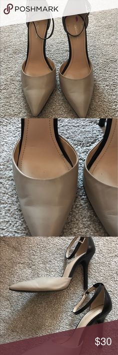 BCBS Generation Ankle Strap D'Orsay Pumps Two tone tan and black heels with pointed toes. Worn once. Just too high for my comfort. Notice creases on top of each shoe from walking (pictured) Heel tips are still like new. BCBGeneration Shoes Platforms