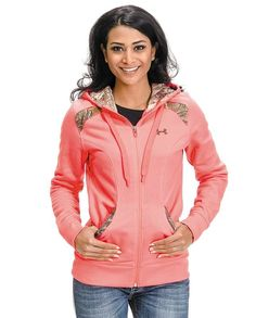 1eb8ba7eea2a Cute! Under Armour Women s Pink with Camo Trim Hoodie Camo Hunting Clothes