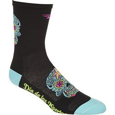 DeFeet Women/'s AirEator 2in Flower Power Black Cycling//Running Socks Flower