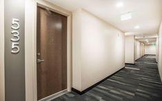 Apartment Door, Apartment Design, Door Number Sign, Corridor Lighting, Corridor Design, Hallway Inspiration, Contract Design, Corporate Interiors, Hallway Decorating