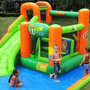 Transform your backyard into a tropical oasis for the kids with this inflatable water slide bounce house. The house features a bounce area, pool, and slide that are all made from a heavy-duty vinyl – making it ideal for outdoor use all year round. Inflatable Water Park, Inflatable Bounce House, Inflatable Bouncers, Backyard Water Parks, Backyard Play, Backyard Ideas, Garden Ideas, Cool Water Slides, Water Slide Bounce House
