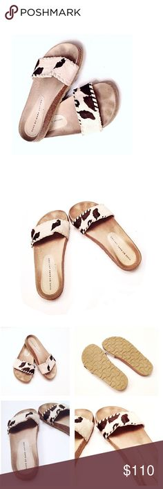 Marc Jacobs Cow Hide / Pony Hair Slide Flat Sandal Gorgeous Marc Jacobs Slide Sandals! Wide Natural Cowhide Front Strap, with stitches around. This  add comfort & stability to these retro boho  style • smoke & cat free home! • soft leather upper, cute & super comfy. Great for casual dressy work, school, church, honeymoon vacation, pool, shopping, or any day! Fun & Trendy Anthropology Style! Animal Print Fashion! • pre loved Size 6 • God bless & happy poshing! Marc By Marc Jacobs Shoes…