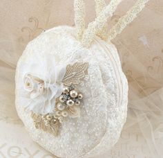Bridal Wristlet Round Purse Bridal Clutch in Ivory and by SolBijou, $105.00