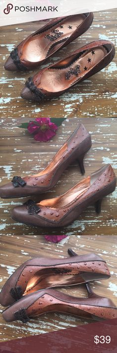 "✨HP✨Naughty Monkey Brown Ostrich Heels✨ Great conditions, Naughty monkey pumps. Approx Measurements 2.5"" Heel. naughty monkey Shoes Heels"