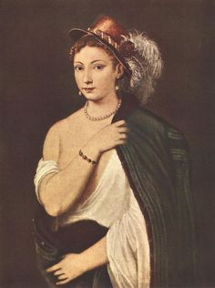 Portrait of a Young Woman by TIZIANO Vecellio #art