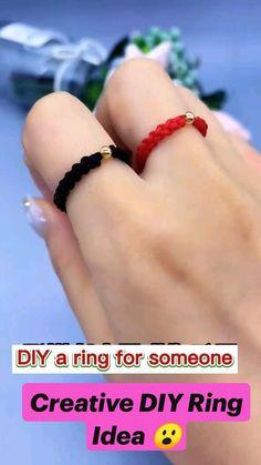 Diy Bracelets Patterns, Diy Friendship Bracelets Patterns, Diy Bracelets Easy, Diy Rings Easy, Diy Jewelry Rings, Diy Crafts Jewelry, Bracelet Crafts, Diy Crafts Hacks, Diy Arts And Crafts