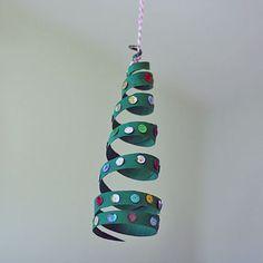Cardboard Tube Coiled Christmas Tree Ornament