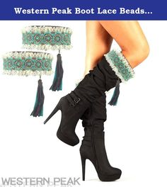Western Peak Boot Lace Beads Rhinestone Topper Tassel Turquoise (Turquoise). Brand new product in package.