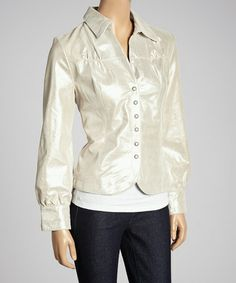 Look at this #zulilyfind! Oatmeal Metallic Leather Jacket by Live A Little #zulilyfinds
