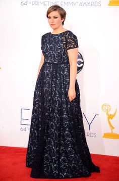 This dress is so awful, I had to pin it.  AWFUL.  I cannot believe it's Prada.  Lena Dunham in Prada.  2012 Emmys