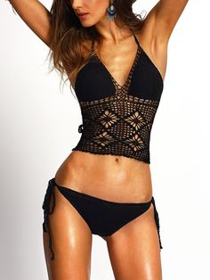 Shop Halter Hollow Out Crochet Black Bikini Set online. SheIn offers Halter Hollow Out Crochet Black Bikini Set & more to fit your fashionable needs.