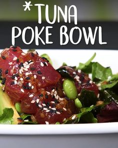 Inspired by Coastal Living's crazy-delicious Shrimp Poke, these vibrant Tuna Poke Bowls are light, flavor-packed, feel like a super special meal, and couldn't be easier to make. Sushi Recipes, Spicy Recipes, Seafood Recipes, Asian Recipes, Cooking Recipes, Healthy Recipes, Fresh Tuna Recipes, Tuna Steak Recipes, Healthy Drinks