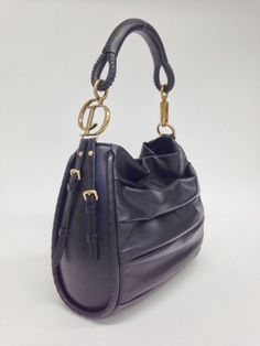 Christian Dior Black Leather Pleated Libertine Bag in Mint, Like-New Condition. Buy now for $1800 at: http://www.consigneddesigns.com/Christian-Dior-M/ #dior #bagporn #fashion #couture #style #consignment #consign #purse #christiandior #iadoredior