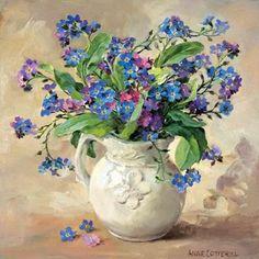 Forget-me-nots - Blank Greetings Card by anne Cotterill Flower Art Flower Vases, Flower Arrangements, Flower Artists, Seasonal Flowers, Arte Floral, Botanical Art, Beautiful Paintings, Japanese Art, Beautiful Flowers