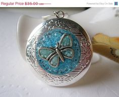 Black Friday Butterfly Locket Personalized Locket Custom Locket Silver Blue Stained Glass Secret Message Hidden Quote Necklace Friendship Lo