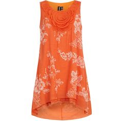 Dorothy Perkins Orange rose bib tunic ($17) ❤ liked on Polyvore featuring tops, tunics, shirts, dresses, orange, blouses, sleeve less shirts, polyester shirt, orange sleeveless top e shirts & tops