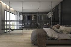 Nowoczesna garderoba z sypialnią w minimalistycznym stylu Divider, Room, Closet, Furniture, Decorating, Home Decor, Bedroom, Decor, Armoire