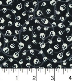 Halloween Cotton Fabric-Mini Tossed Skulls Glow