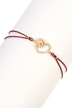 iLuck Gina CZ Swirled Heart Cord Bracelet