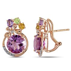 These stylish earrings from the Miadora Collection feature oval and round-cut amethyst, round-cut peridot, round-cut citrine stones adorned with round white diamond accents. This classy pair is set in 14-karat rose gold and are secured with omega backs.