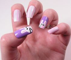"Easter Manicures Nail Treatments ""Purple Passion Bunnies in the Long Pink Grass!"" via via Lisa's Nail Obessions To See all our Magnificent Manicures Including all our Holiday Manicures see: http://stillblondeafteralltheseyears.com/category/manicures/  #manicures #HolidayManicures #Easter"