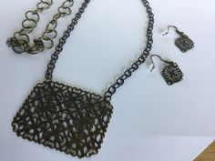 Antique Gold Necklace with Filigree Pendant by kaysjewelrydesign on Etsy