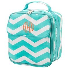 Aqua Chevron Lunch Box Bag Embroidered Personalized Back to School