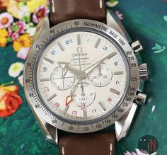 """""""Set To Spring!""""#Omega 44mm Speedmaster GMT Co-Axial, 2016Ref#: 3881.30.37 ($4,975.00 USD)http://www.elementintime.com/Omega-Speedmaster-Broad-Arrow-GMT-Chronograph-3881.30.37-Stainless-Steel-Silver-Dial"""