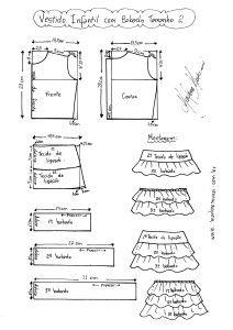 Esquema de Modelagem de Vestido Infantil com Babados em Camadas tamanho 2.