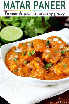 Matar paneer is a delicious India dish made by cooking peas & Indian cheese in a smooth flavorful and spicy curry Vegetarian Recipes Videos, High Protein Vegetarian Recipes, Quick Vegetarian Meals, Indian Food Recipes, Indian Vegetarian Dinner Recipes, Easy Veg Recipes, Easy Paneer Recipes, Paneer Curry Recipes, Indian Paneer Recipes