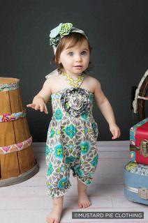 Mustard Pie - Fiona Baby Romper - Aqua Mint (Infant) - Spring 2014