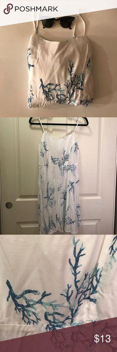 Cami White White and Blue Coral Print Dress Cami White White and Blue Coral Print Dress Dresses Midi