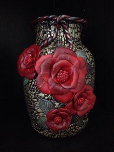 "Handmade Polymer Clay Vase ""Rosa"", Flower Vase,  Glass Vase, Handmade Gift, OOAK, Polymer Clay Art, Sculpted Vase by LunaBlueGifts on Etsy https://www.etsy.com/listing/244498607/handmade-polymer-clay-vase-rosa-flower"