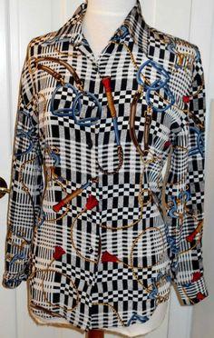 c7ae6d2b89669 Details about Vtg Womens COREY B NEW YORK Silk Horse Equestrian Check Scarf Shirt  Blouse Top~8