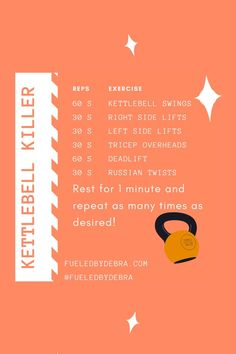 This is my go-to workout using a 15-pound kettlebell! I love to repeat this as many times as I can. Don't be fooled, it definitely isn't as easy as it seems! Be sure to follow www.fueledbydebra.com to be notified when I post new workouts! Toning Workouts, Butt Workout, Weight Loss Motivation, Weight Loss Tips, Slim Waist Workout, Kettlebell Swings, Russian Twist, Injury Prevention, Workout Videos