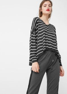 Pull-over fin à rayures -  Femme | MANGO France