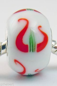 Alpha-Chi-Omega-Lyre-Lampwork-Glass-Large-Hole-Euro-Bead-Charm-925-Silver-Core