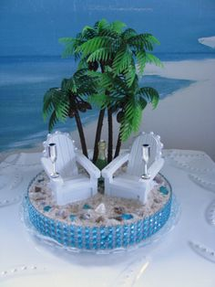 Adirondack Chairs~Palm Trees~ Beach Wedding Cake Topper by CeShoreTreasures