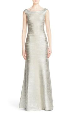Herve Leger 'Sophia' Woodgrain Metallic Foil Gown available at #Nordstrom
