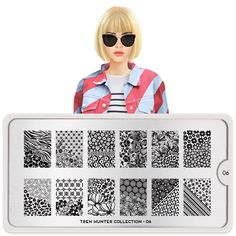 Meet Anna! Take Fashion Week (and beyond) by storm with our stylish Trend Hunter plates. Our newest launch features the season's most wanted prints, patterns, florals, and more. ● MoYou-London Trend Hunter 06 includes12 different designs, each measuring 1.5 x 2cm. ● The stainless steel plate measures 6.5 x 12.5cm and have a vinyl backing for increased ease of use. ● Each plate comes in its own branded protective sleeve. ● The designs are engraved on to the image plate and covered with a ...
