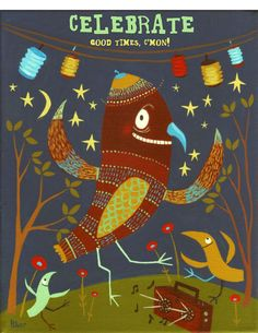 Birds Dancing Card or Small Art Print Celebrate Good by 3crows