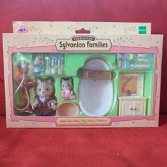 Sylvanian Families BABY HOUSE CARRY CASE CRADDLE B-37 Grey Cat Calico Critters