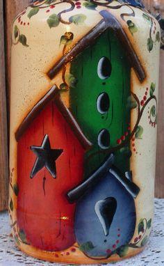 Tarro del almacenaje de Birdhouse pintados por PaintingByEileen