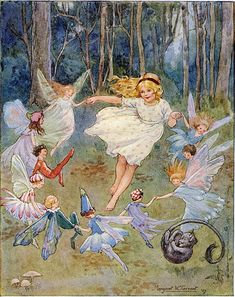 Fairies dancing in a circle - perhaps to inspire the rabbit transformation