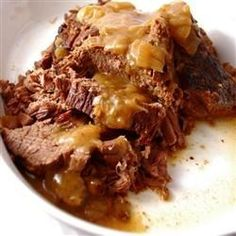 Bottom Round Roast with Onion Gravy Allrecipes.com, this is delicious and so easy to make. I used fewer onions and it still came out perfect. For gluten free, I use corn starch instead of flour for thickening.