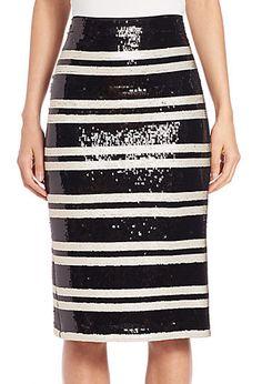 Rue Embellished Striped Pencil Skirt