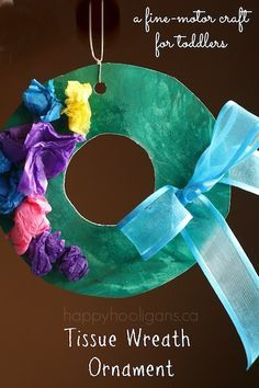 Tissue Paper Wreath Ornament - Happy Hooligans