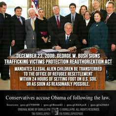Republicans are blaming Obama for following a law THEY voted for, and George W. Bush signed into law. HYPOCRITES!   Full Story-http://bit.ly/BushCreatedBorderCrisis    Full Story-http://bit.ly...