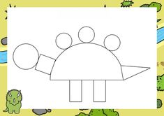 Dzień Dinozaura - Kształty / Stwórz swojego dinozaura do druku Dinosaur Activities, Dinosaur Crafts, Preschool Activities, Kids Learning, Kindergarten, Homeschool, Symbols, Letters, Shapes